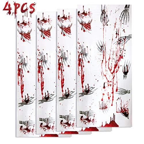 Joyjoz Halloween Deko Horror Poster 4PCS Halloween Tür Fenster Dekoration Gruseliges Skelett Totenkopf Poster Halloween Partydekorationen Spukhäuser Wand