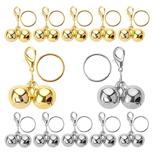 LUTER 12 Stück Haustierhalsband Glocken, Metall Lautes Haustier Training Bell Charms Anhänger für Katzen Hunde Halskette Halsband (Silber, Gold)