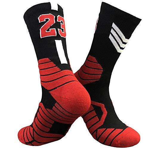 CNMD Chicago Bulls No.23 Michael Jordan Basketball Gewebte Mid-Calf Socken | Klassischer Basketball | Mehrere Farben Black- Adults