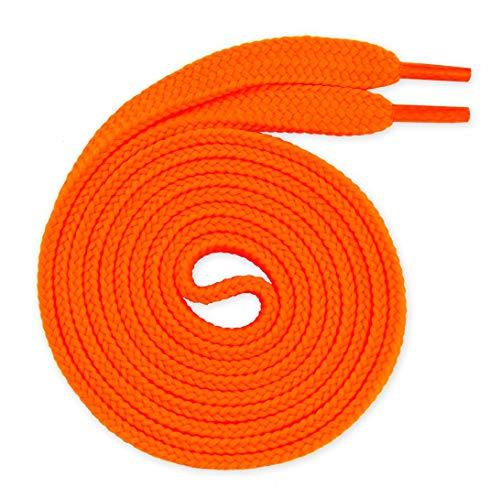 Lacenio, lacci per scarpe sportive e sneaker, 7 mm, in poliestere, di ricambio, colore arancione fluo, 150 cm
