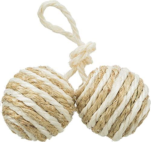 Trixie 5,77 2 Bälle am Seil, Sisal, ø 4,5 cm