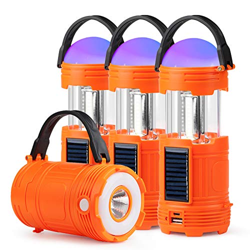 4 Pack 5 IN 1 Solar USB Rechargeable 3 AAA Power Brightest COB LED Camping Lantern with S Charging for Device, Waterproof Collapsible Emergency Flashlight LED Light