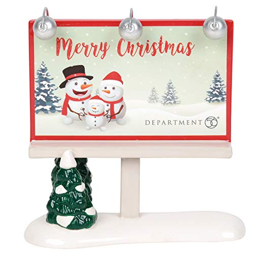 Department 56 Village Collections Accessories Merry Christmas Billboard Figurine, 4.96 Inch, Multicolor