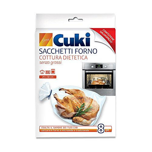 Cuki - Sacchetti forno, Cottura senza Grass, Esalta il Sapore dei Tuoi Cibi 25x38 cm - 8 Pezzi