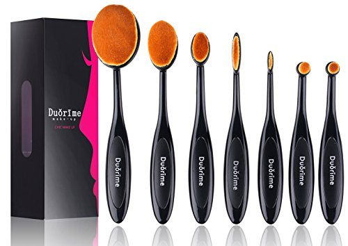 Duorime New 7pcs Black Oval Toothbrush Makeup Brush Set Cream Contour Powder Concealer Foundation...
