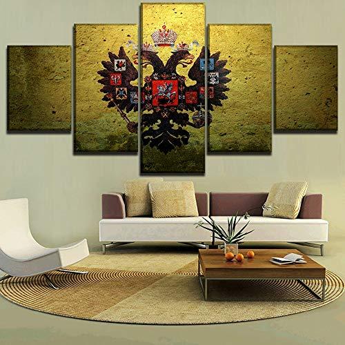 HOMOPK 5 Canvas afbeelding afbeelding Russisch rijk kunstenaarsvlag 5-delig muurschildering achtergrond schilderen behang olie druk poster keuken decor poster gift 30x40cmx2 30x60cmx2 30x80cmx1 Rahmenlos.