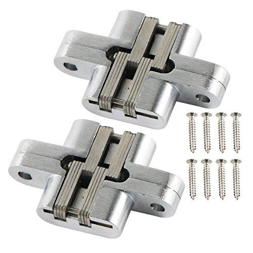 UOOOM 1 par de bisagras de acero inoxidable invisibles, de metal, resistente, oculta, cruz de 180 grados, para armario de puerta plegable (46-B#)