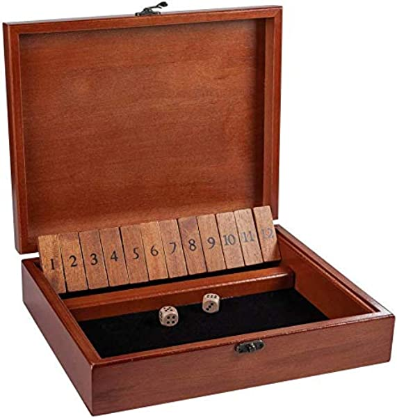 WE Games Shut The Box Game In Old World Wood Box With Brass Latch 12 Numbers