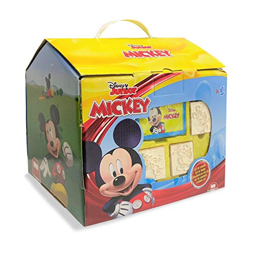 Multiprint Casetta 7 Timbri per Bambini Disney Mickey, 100% Made in Italy, Set Timbrini Bimbi Personalizzati, in Legno e Gomma Naturale, Inchiostro Lavabile Atossico, Idea Regalo, Art.09945