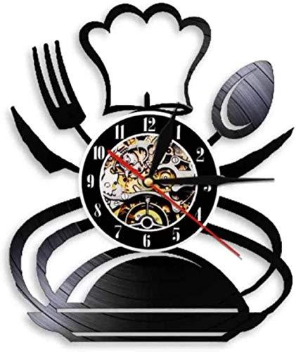 Regalo reloj de pared de vinilo, tenedor, cuchillo, reloj vintage, reloj de cuarzo silencioso, reloj de pared, regalos personalizados hechos a mano para niños y adultos, 12 pulgadas -12 pulgada