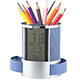 Sorive Multifunctional Pen Holder Pencil Container Digital LED Desk Clock Mesh with Calendar Timer Alarm Clock Thermometer 2 Small Drawer SRI01826(Blue)