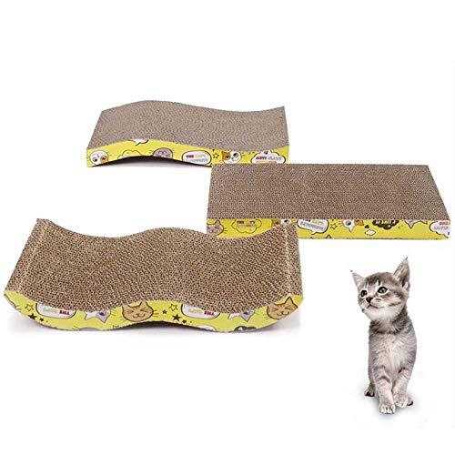 T-Mark Preciosa Cat 3 Forma de Scratch Junta del Gato Grande del Juguete de tamaño Doble Cara Duradero Pet Rascador for Cama, Mat con Hierba gatera Juguete Garra Cuidado Cama del Animal doméstico
