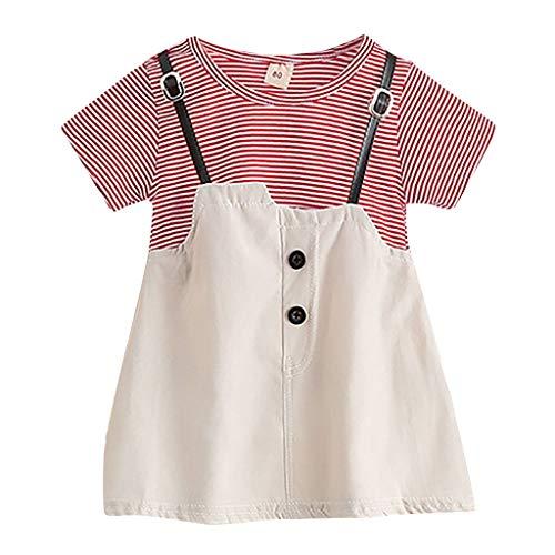 Janly Liquidación Venta Vestidos de Niña para 0-5 Años, Bebé Niños Niñas Estampado de Rayas Vestido de Princesa Vestidos para Niños Pequeños, rojo, 2-3 Años