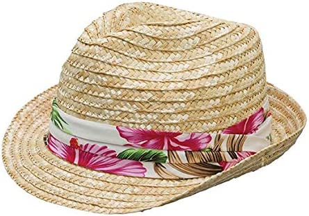 PRFCTO Braided Straw Fedora with Floral Wrap - Unisex Hat