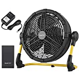 Geek Aire Fan, Battery Operated Floor Fan, Rechargeable Portable Outdoor Fan with Metal Blade, Two Power Options-15000mAh Detachable Battery or AC Adapter, for Indoor & Outdoor Use, Emergencies, 12''