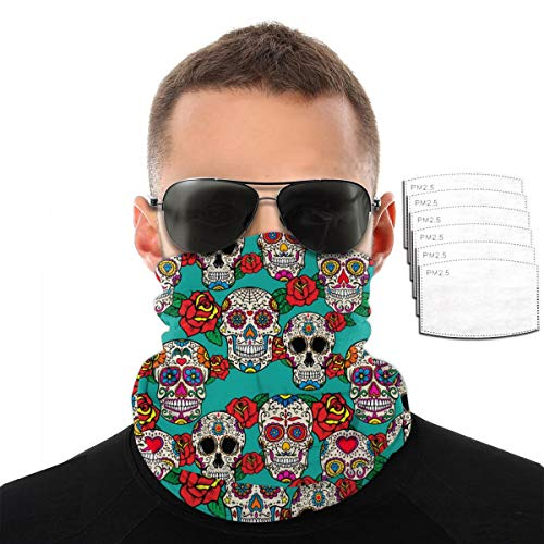 Sugar Skulls and Roses Bandana Cloth Face Mask Washable Face Covering Neck Gaiter Dust Mask