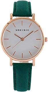 Relógio de pulso-Relógio feminino de 1 peça com pulseira de couro casual relógio de pulso de quartzo para meninas e meninas