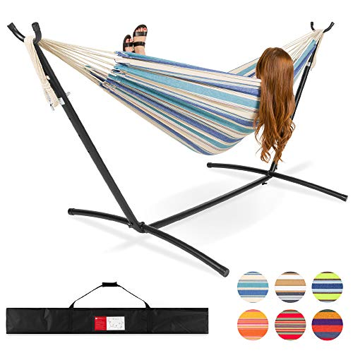 Best Choice Products 2-Person Brazilian-Style Cotton Double Hammock Bed w/Carrying Bag, Steel Stand,...