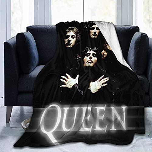 Manta de franela con banda de reina y rock, multiusos, cálida, de forro polar, manta ligera para coche, dormitorio, sala de estar, viajes, 80 x 60 pulgadas