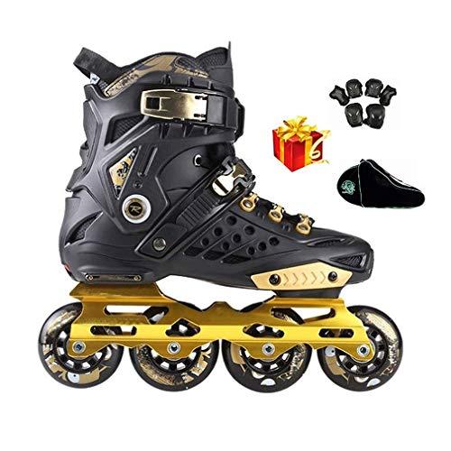 Sljjlhx Sljj Schwarzgoldene Für Erwachsene Und Teenager, Hochleistung Inline-Skates Für Mädchen Und Jungen Lila Und Weiß (Color : Black, Size : 35 EU)