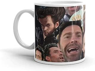 Hugh Jackman's Many Faces. 11 Oz Ceramic Glossy Mugs Gift For Coffee Lover Unique Coffee Mug, Coffee Cup. 11 Oz Ceramic Glossy Mugs Gift For Coffee Lover