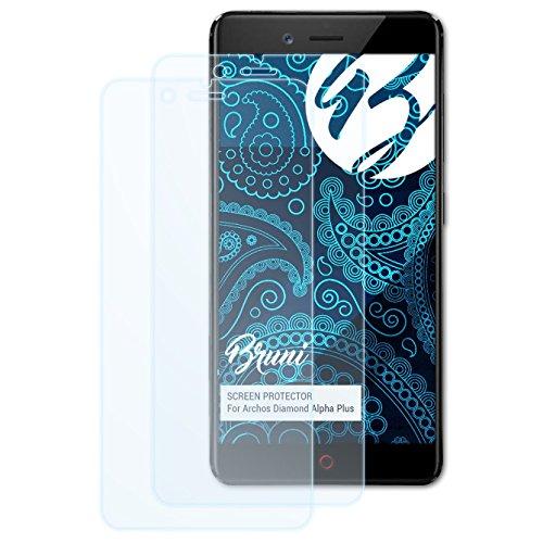 Bruni Schutzfolie kompatibel mit Archos Diamond Alpha Plus Folie, glasklare Bildschirmschutzfolie (2X)
