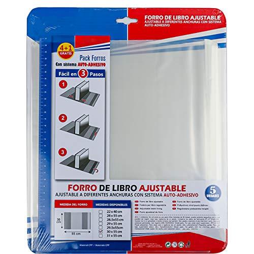 Forro de Libros Autoadhesivo y Ajustable Transparente - Pack de 5 Unidades Forra Fácil 30x55 cm