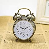 Reloj de alarma retro de timbre doble, relojes de alarma mecánicos manuales vintage, relojes de puntero silenciosos de metal Reloj de alarma fuerte de Bell Luz de noche en la cabecera,bronze