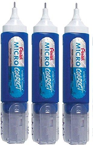 Pentel Pen (ZL31)-Micro Correct-Correcteur liquide-liquide Blanc Tipp-Ex White Out originales, pointe métal, 12 ml (Lot de 3)