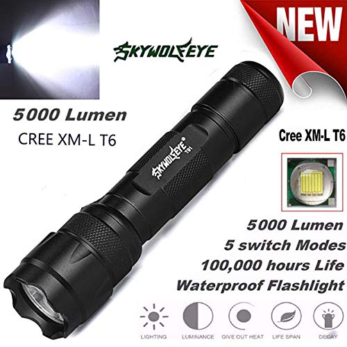 AmyGline Tactical Military LED-Taschenlampe 10000 Lumen Zoomable Flashlight 18650 Flashlight Torch Lamp Light