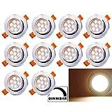 BMOT Paquete de 10 7W LED Empotrable de techo Luz regulable Blanco cálido 560lm Downlights 7W = 60W Bombilla 3200K Foco para sala de estar Dormitorio Cocina Baño