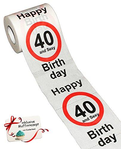 alles-meine.de GmbH 1 Rolle _ Toilettenpapier -  40. Geburtstag / vierzig und Sexy - Happy Birthday  - 28 m - Verkehrsschild - WC Klopapier Klopapier - lustig Klorolle große Ro..