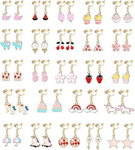 YADOCA 24 Paires Boucles D'oreilles Clip Enfants Filles Princesse Clous D'oreilles Set, Pretend Play Dress up Cadeau Accessoire Fête