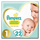 Pampers Couches New Baby Premium Protection, taille 1 : 2-5 kg - Le paquet de 22