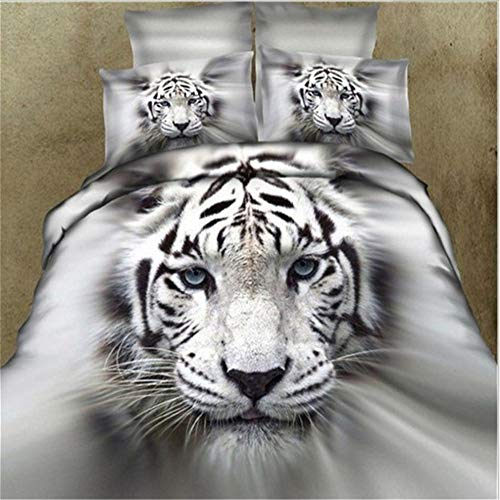 3D Lifelike White Tiger Bedding Set, Animal Print Effect Twin/Double/Queen/King/Queen Size Cotton Bedding Set of Duvet Cover Bed Sheet Pillowcases