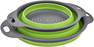 Colander Set, Kitchen Foldable Silicone Filter, Environmentally Friendly Non-Toxic Easy to Clean, 2 Sizes Including 8-inch...
