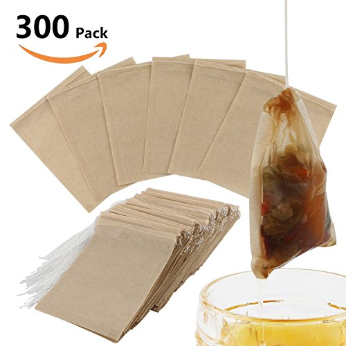 300PCS Tea Filter Bags, Disposable Paper Tea Bag with Drawstring Safe Strong Penetration Unbleached Paper for Loose Leaf Tea and Coffee(5x6CM)