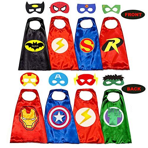 Belvita, mantelle da supereroe per bambini, 8 cappelli reversibili in raso e maschere per costumi da travestimento (4 mantelli, 8 maschere) Rosso 31-35