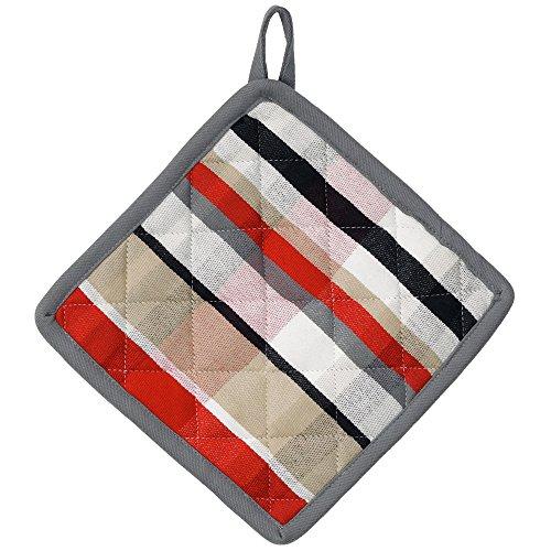 kela Manique Tabea avec Motif carré 20x20cm en Coton, Blanc/Rouge/Taupe, 20x20x2 cm