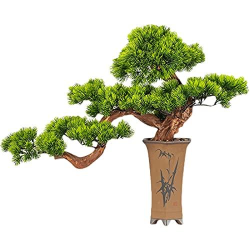 Artificiale Bonsai Pianta Albero di pino artificiale Bonsai, Pianta in custodito in coccodietta da 19 pollici, ornamenti falsi del vaso di albero del cedar Bonsai Plant per salotti, sale da tè Bonsai