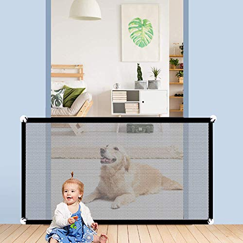 """Magic Pet Gate for Dogs,Portable Mesh Dog Gate,Indoor Outdoor Mesh Baby Gates,Safe & Reliable,Dog Gates for Doorways,Gates for Kids or Pets,Baby Gates for Stairs,Baby Gates for Dogs (L-43.3"""" X28.3"""")"""