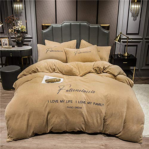 Shinon king duvet cover-Winter suede thick coral velvet sheets double-sided plus down duvet cover flannel Christmas bedding-D_1.8m bed (4 pieces)