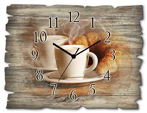 Artland Wanduhr ohne Tickgeräusche aus Holz Quarz Uhr lautlos rechteckig 40x30 cm Querformat Kaffee Coffee Cafe Braun Cappuccino Croissant T5XO