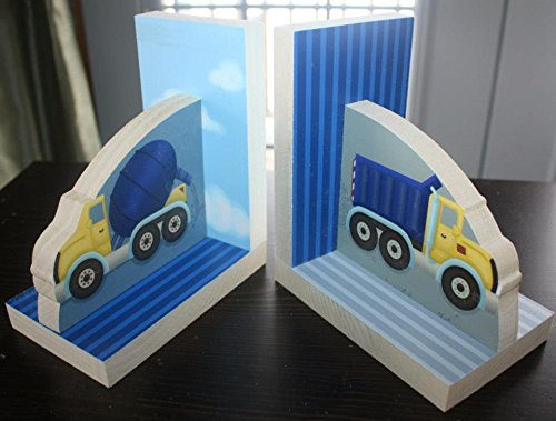 Navy Blue Construction Truck Boys Bookends Kids Bedroom Baby Nursery Wood Bookends BE0018