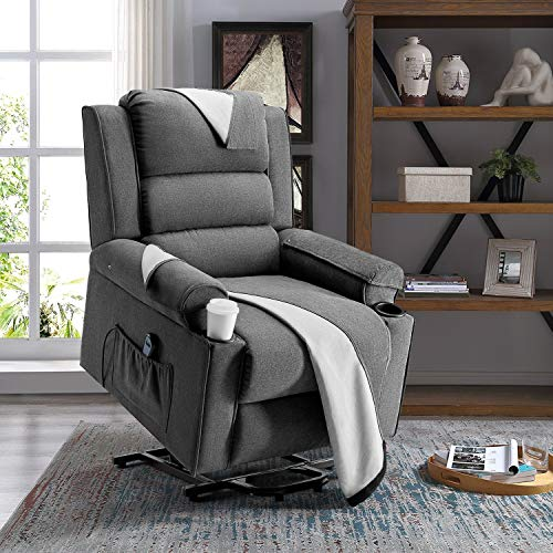 LEMBERI Electric Power Lift Recliner Chair, Ergonomic Modern Lounge Chair for Living Room, Single Sofa for Elderly, Home Theater, Linen Fabric with Side Pocket, 2 Cup Holders, Washable Covers(Grey)