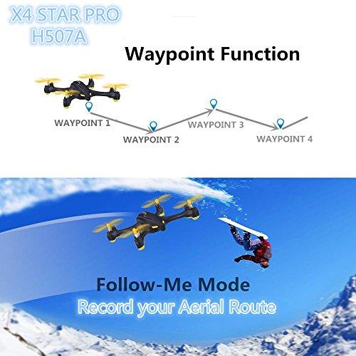 Hubsan H507A X4 Cuadricóptero Star Pro FPV 720P HD Aplicación cámara GPS - Radiocontrol automático.