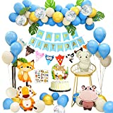 APERIL Feliz Decoracion Cumpleaños 1 Año Fiesta Cumpleaños Infantil Globos Cumpleaños Niño Happy Birthday Decoracion con Hojas de Palma Bosque Animal Latex Globos para Baby Shower Decoración 2 3 4 Año