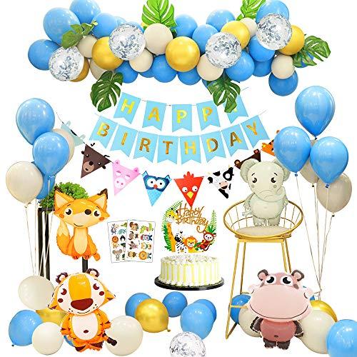 APERIL Decorazioni Compleanno 1 Anno Palloncini Addobbi Festa Compleanno Bambini con Decorazioni Torta Compleanno Foglie di Palma Palloncini in Lattice E Safari Forest Animal per Ragazzo