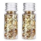 2 Botellas Hojuelas de Lámina Dorada, Comestible Papel de Aluminio Decorativo Multifunción para Pastel de Postre Chocolate Embotellado
