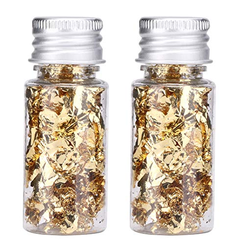 2Pcs Bottled Gold Foil Paper,Multifunction Stylish Decorative Gold Foil Paper,for Decorating Food Dessert Cake Chocolate, Suitable for Families Bars Restaurants